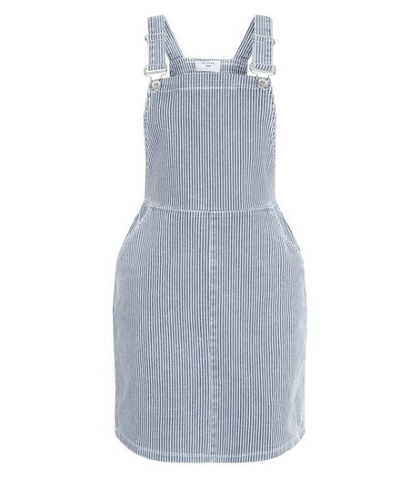 Petite Blue Stripe Pinafore Dress | New Look