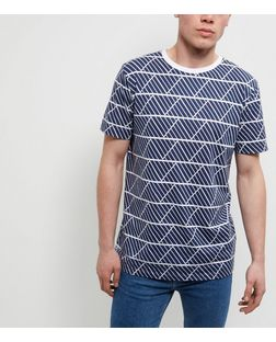 Navy Geo Print Short Sleeve T-Shirt | New Look