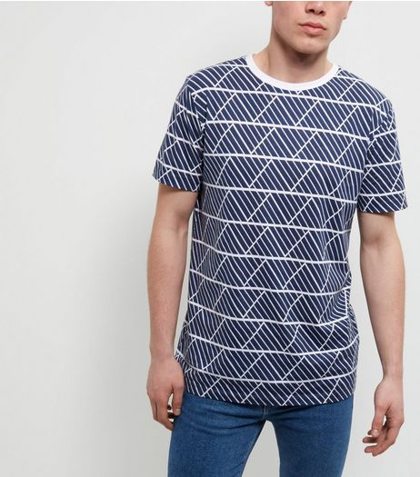 Navy Geo Print T-Shirt | New Look