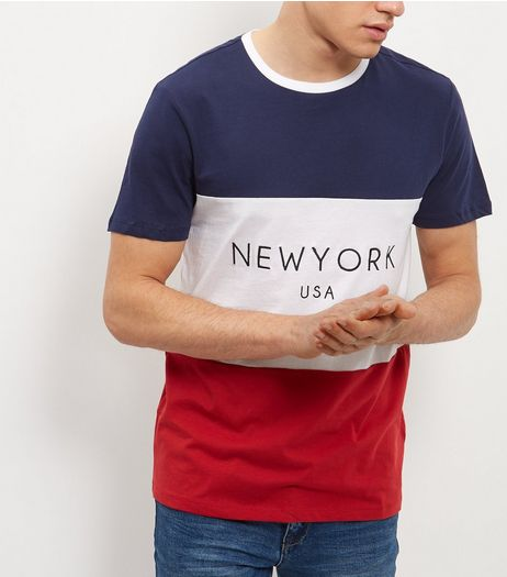 Navy New York Colour Block T-Shirt  | New Look