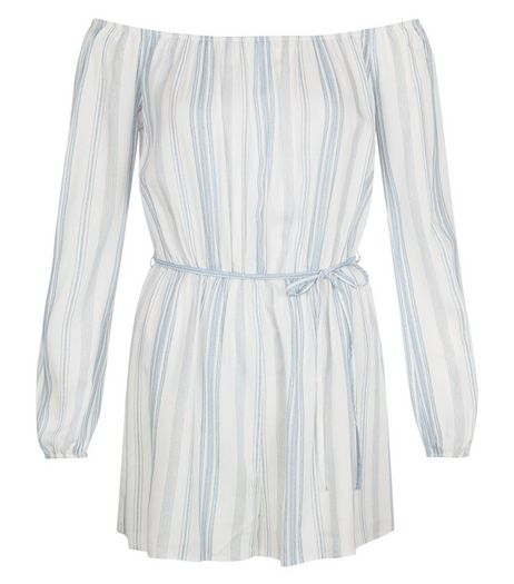 White Stripe Bardot Neck Long Sleeve Playsuit  | New Look