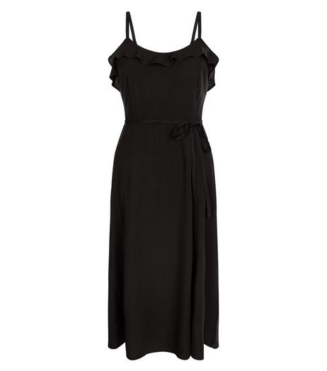 Black Frill Trim Tie Waist Split Side Midi Dress  | New Look