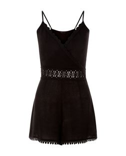 Black Crochet Trim Deep V Neck Playsuit  | New Look