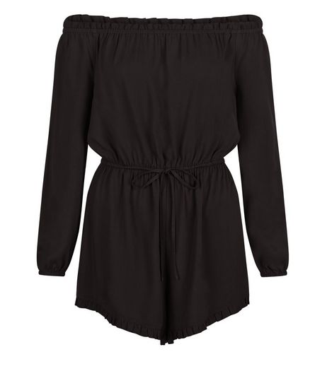 Black Bardot Neck Long Sleeve Playsuit  | New Look