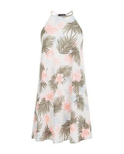 White Tropical Print High Neck Swing Dress  | New Look
