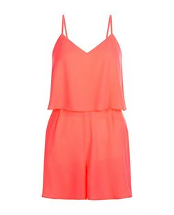 Coral Strappy Layered Playsuit | New Look