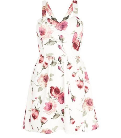 White Floral Print Skater Dress  | New Look