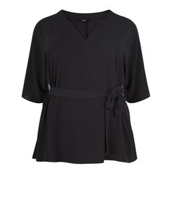 Curves Black Tie Waist Wide Sleeve Top | New Look