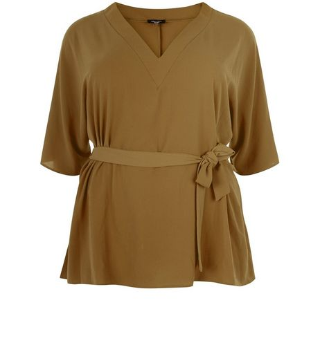 Curves Khaki Tie Waist Wide Sleeve Top | New Look