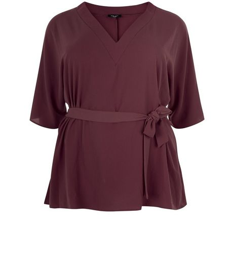 Curves Burgundy Tie Waist Wide Sleeve Top | New Look