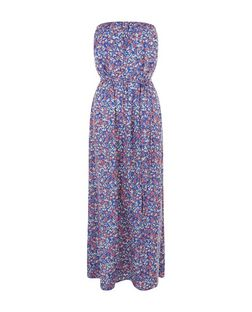 Blue Ditsy Floral Print Bandeau Maxi Dress  | New Look