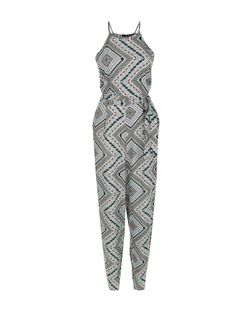Black Paisley Tribal Print High Neck Jumpsuit  | New Look