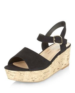 Teens Black Flatform Sandals | New Look