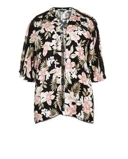 Curves Black Tropical Print Kimono | New Look