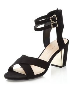 Teens Black Gold Panel Cross Strap Heels | New Look