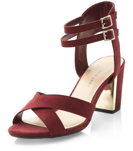 Teens Dark Red Gold Panel Cross Strap Heels  | New Look