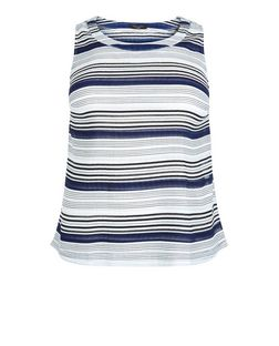 Curves White Stripe Pleated Shell Top | New Look