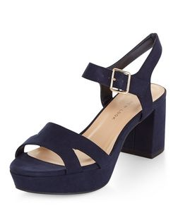 Teens Navy Suedette Platform Heels | New Look