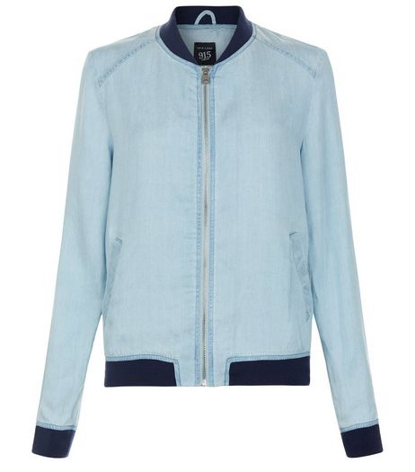 Teens Pale Blue Denim Bomber Jacket | New Look