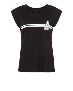 Black Stripe A Print T-Shirt | New Look