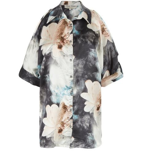 Parisian Blue Floral Print Satin Cold Shoulder Shirt | New Look