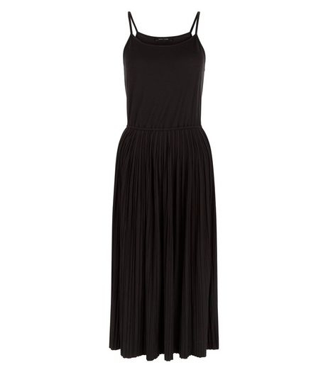 Black Strappy Pleated Midi Skater Dress  | New Look