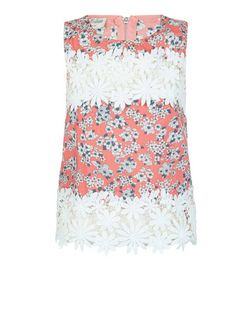 Parisian Coral Daisy Print Crochet Panel Top | New Look