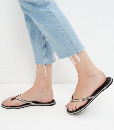 Black Embellished Trim Flip Flops  | New Look