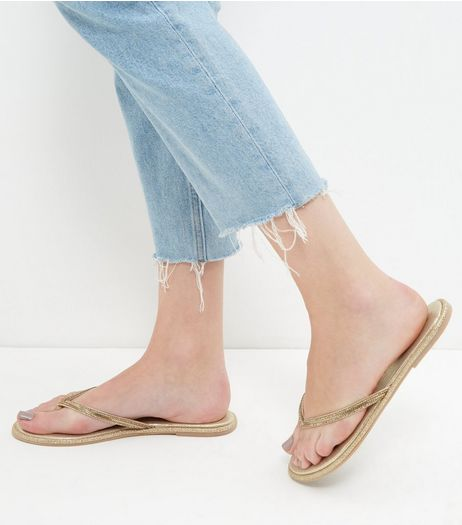 Gold Embellished Trim Flip Flops  | New Look