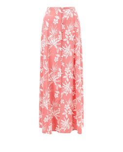Pink Tropical Print Button Front Maxi Skirt  | New Look