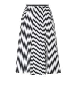 Blue Stripe Balloon Midi Skirt  | New Look