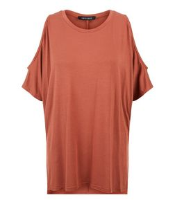 Rust Cold Shoulder Oversized T-Shirt  | New Look