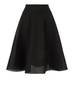 Black Airtex Balloon Midi Skirt  | New Look