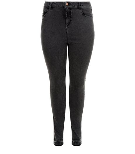 Curves Black Drop Hem Skinny Jeans  | New Look
