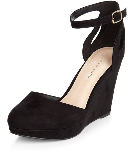 Wide Fit Black Comfort Suedette Ankle Strap Wedges  | New Look