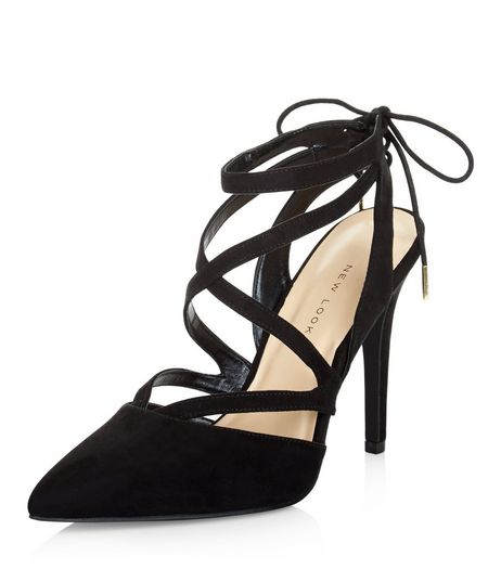Wide Fit Black Suedette Multi Strap Pointed Heels  | New Look