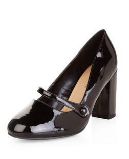 Wide Fit Black Patent Mary Jane Block Heels  | New Look