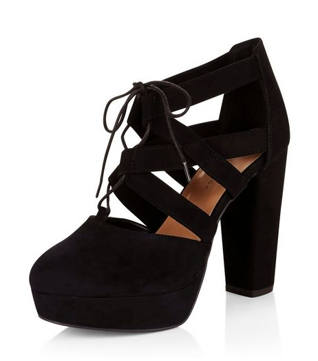 Wide Fit Black Suedette Ghillie Platform Heels  | New Look