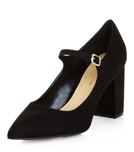Wide Fit Black Pointed Mary Jane Block Heels  | New Look