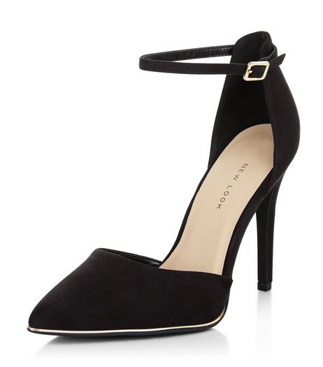 Wide Fit Black Suedette Ankle Strap Pointed Heels  | New Look