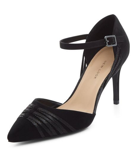 Wide Fit Black Suedette Cross Strap Pointed Heels  | New Look
