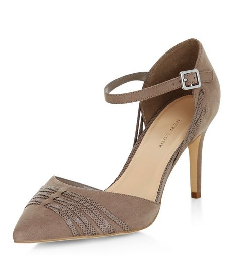 Wide Fit Light Brown Suedette Cross Strap Pointed Heels | New Look