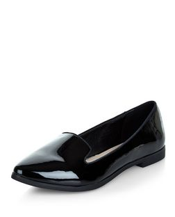 Teens Black Pointed Patent Loafers | New Look