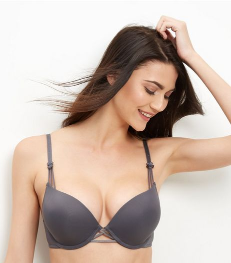 Dark Grey Cross Strap Boost Bra  | New Look