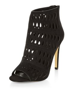 Wide Fit Black Suedette Cut Out Heeled Boots  | New Look