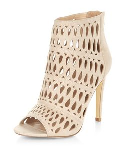 Wide Fit Nude Suedette Cut Out Heeled Boots  | New Look