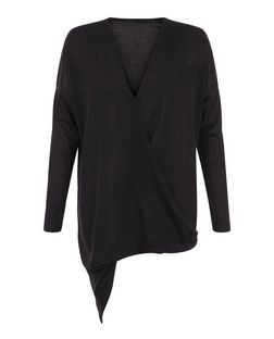 Cameo Rose Black Long Sleeve Wrap Top | New Look