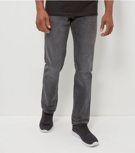 Dark Grey Faded Straight Leg Jeans  | New Look
