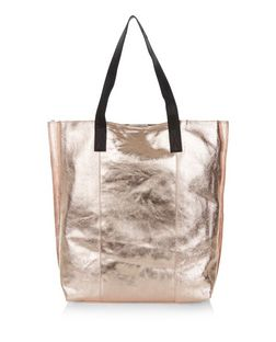 Bronze Leather Metallic Shopper Bag  | New Look