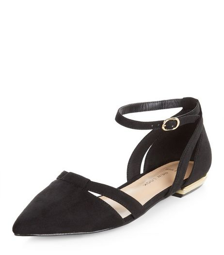 Wide Fit Black Suedette Pointed Ankle Strap Pumps  | New Look